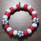 "Acrylic Red & White Soccer Ball Sport Stretch Bracelet 5.5"""