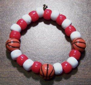 "Acrylic Red & White Basketball Sport Stretch Bracelet 5.5"""