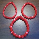"3 Red Acrylic Stretch Bracelets 7.4"" Made in the U.S.A."