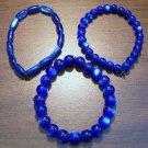 "3 Dark Blue Acrylic Stretch Bracelets 7.4"" Made in the U.S.A."
