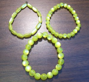 """3 Yellow Acrylic Stretch Bracelets 7.4"""" Made in the U.S.A."""