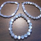 "3 White Acrylic Stretch Bracelets 7.4"" Made in the U.S.A."