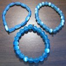 "3 Light Blue Acrylic Stretch Bracelets 7.4"" Made in the U.S.A."