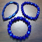 "3 Dark Blue Acrylic Stretch Bracelets 6.9"" Made in the U.S.A."