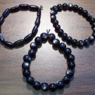 "3 Black Acrylic Stretch Bracelets 6.9"" Made in the U.S.A."