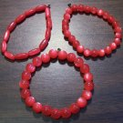 "3 Red Acrylic Stretch Bracelets 6.9"" Made in the U.S.A."