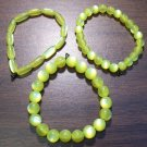 "3 Yellow Acrylic Stretch Bracelets 6.9"" Made in the U.S.A."