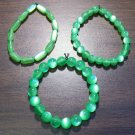 "3 Green Acrylic Stretch Bracelets 6.9"" Made in the U.S.A."