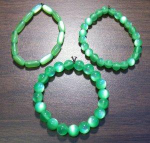 "3 Green Acrylic Stretch Bracelets 6.9"" Made in the U.S.A."