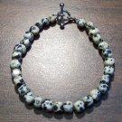 "dj1 Dalmation Jasper Natural Stone Bracelet 7.5"" U.S.A."