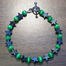 gs1 Green Cat's Eye Glass with Hemalyke Star Bracelet 7.5""