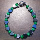gh2 Green Cat's Eye Glass with Hemalyke Heart Bracelet 7.5""