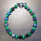 gs2 Green Cat's Eye Glass with Hemalyke Star Bracelet 7.5""