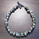 "dj2 Dalmation Jasper Natural Stone Bracelet 7.3"" U.S.A."
