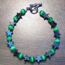 "gs3 Green Cat's Eye Glass with Hemalyke Star Bracelet 7"""