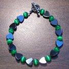 "gh3 Green Cat's Eye Glass with Hemalyke Heart Bracelet 7"""