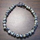 "dj4 Dalmation Jasper Natural Stone Bracelet 8"" U.S.A."