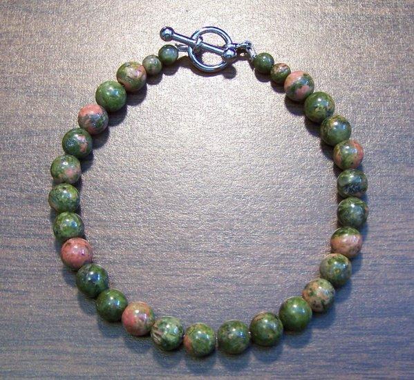 "Unakite Natural Stone Bracelet 7.1"" Made in the U.S.A."