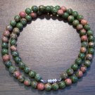"Unakite Natural Stone 18"" Necklace Made in the U.S.A."