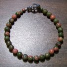 "Unakite Natural Stone 7.5"" Bracelet Made in the U.S.A."