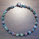 "Fancy Jasper Heart Natural Stone 9.5"" Anklet U.S.A."
