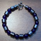 "Dark Blue Czech Glass & Magnetic Hemalyke 6.9"" Bracelet"