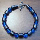 "Aqua Czech Glass & Magnetic Hemalyke 6.9"" Bracelet U.S.A."