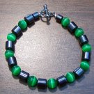 "Dark Green Cat's Eye & Magnetic Hemalyke 7.5"" Bracelet U.S.A."