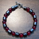 "Red Czech Glass & Magnetic Hemalyke 7.5"" Bracelet U.S.A."