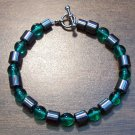 "Green Czech Glass & Magnetic Hemalyke 7.5"" Bracelet U.S.A."