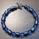 """Light Blue Czech Glass & Magnetic Hemalyke 7.5"""" Bracelet"""