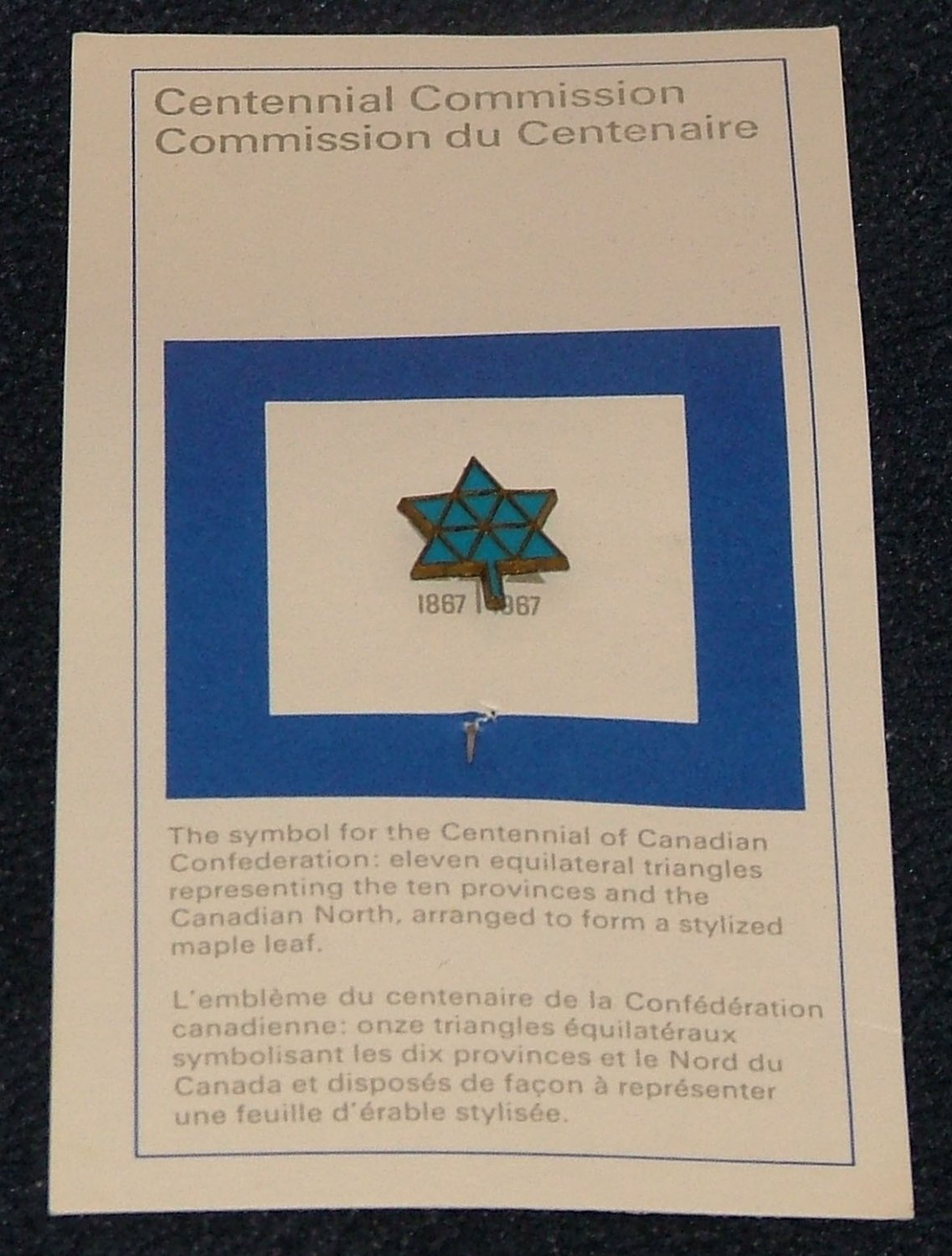 Vintage 1887 - 1967 Canada Centennial Commission Confederation Pin