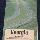 1984-85 Georgia State Official Highway and Transportation Road Map 1984