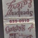 Retro Gatsby's Gatsbys Speakeasy & Eatery Car Scene Racine Unstruck Matchbook