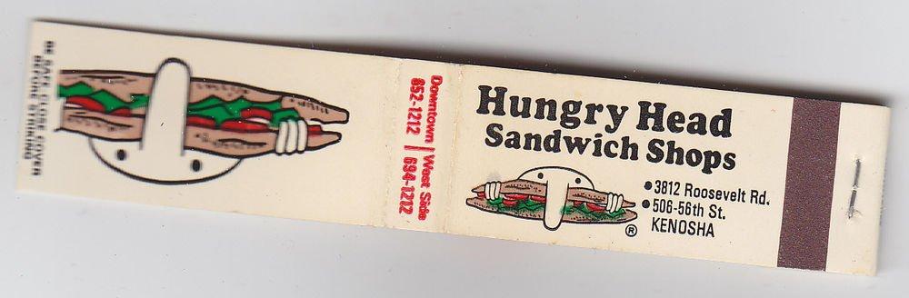 Retro Rare Hungry Head Sandwich Shop Kenosha Wisconsin * FEATURE * Matchbook New