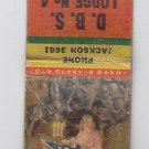 Vintage 'Old Glory Is Born' American Flag Seamstress DBS Lodge Racine  Matchbook