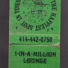 Vintage 1-In-A-Million Lounge Happiest Spot in Town Dancing Graphic WI Matchbook