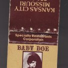 Vintage Baby Doe Matchless Mine Specialty Restaurants Corp Kansas City Matchbook