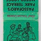 Vintage Retro Family Dinner Passofaro's Park Terrace Motor Lodge Home Matchbook