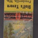 Vintage Stoll's Tavern Franksville Wisconsin Peaceful Valley Design Matchbook