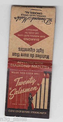 "Vintage Twenty ""Salesman"" Diamond Matches Match Genral Sales Chicago Matchbook"