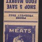 Vtg Shop & Save Food Market Hess Folsom Racine Phone Prospect 6652 Matchbook