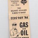 Vtg Standard Gasoline Gas Oil Service Station Attendant Retro Graphic Matchbook