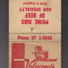 Vtg Volprano's House of Prime Rib Milwaukee's Favorite Phone: UP3-0046 Matchbook