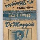 Vintage Joe DiMaggio DiMagio's Restaurant San Francisco Yankees CA Matchbook