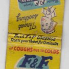 Vintage Retro F&F Cough Lozenges For Coughs Due To Colds Matchbook Matchcover