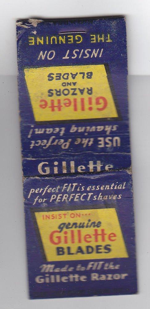 Vintage Retro Gillette Razors Razor & Blades Blade Advertisement Matchbook