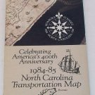 1984 - 1985 North Carolina State Highway Road Transportation Map