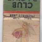 Vintage Retro Pinup Girl Rain Umbrella Racine Club Wisconsin Matchbook