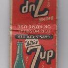 """Vintage Drink 7UP 7 UP Green Bottle """"I like 7up it likes me!"""" Soda Matchbook"""